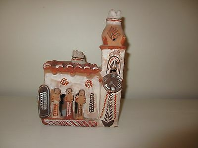 Vintage Mexican Primitve Folk Art Pottery Building Church & People Candle Holder