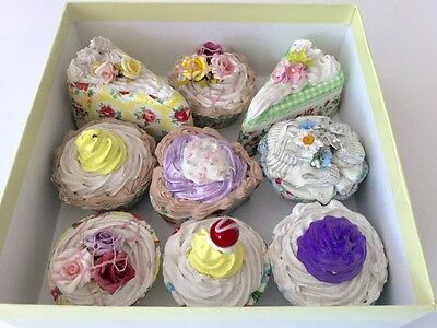 9 fake  artificial cakes in Cath Kidston paper for display