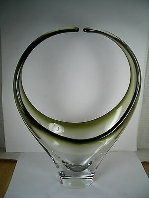 SIGNED large Clear to green Chalet Canada Art Glass Basket Bowl Vintage Mid Cen