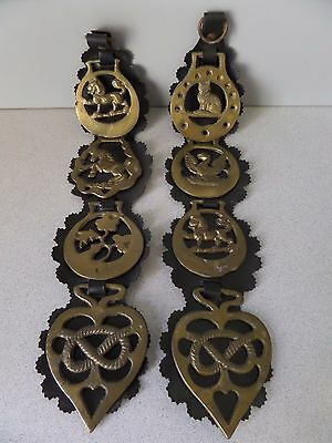 Lot/8 BRASS Horse Harness MEDALLIONS/Ornaments w/TWO Harness STRAPS/Equestrian