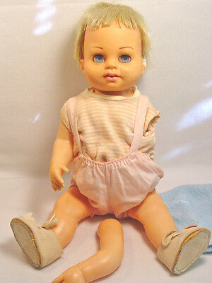 1961 CHATTY BABY CATHY Doll BLONDE + ORIGINAL  OUTFIT + BLUE Knit Sweater + HAT
