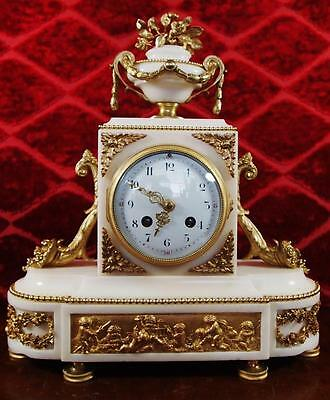 Antique 19th c French gilt bronze & Carrera Marble Mantle Clock by Samuel Marti