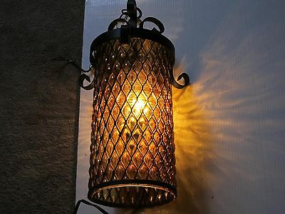 Spanish Gothic Hanging Stained Glass Amber Cylinder Wrought Iron 18H