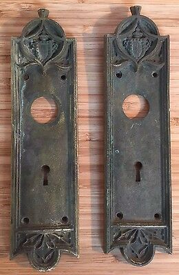 Two Antique Victorian Fancy Coat Arms Crest Brass Pocket Door Pulls Pull Plates