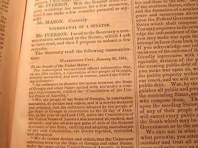 1861 Congressional Globe Proceedings Of 36Th Congress 2Nd Session Civil War