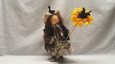 """Lizzie High wooden doll with Sunflower and seeds 11"""""""
