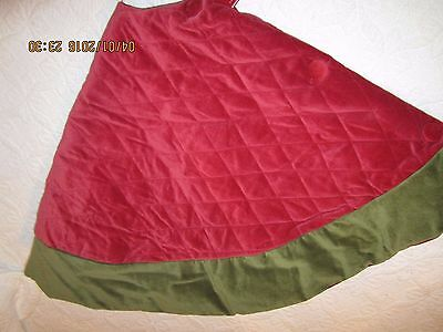 Pottery Barn Velvet Tree Skirt, Red With Green Cuff-Medium-Nwt