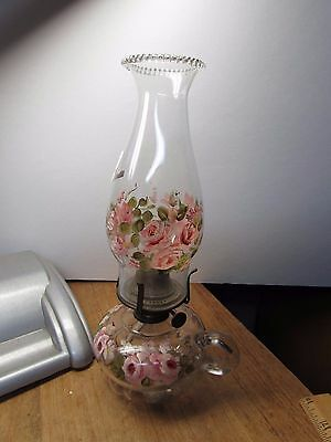 Primitive Vintage Glass Finger Oil Lamp With Hand Painted Roses