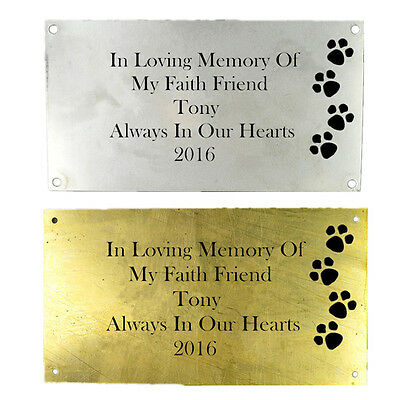 Personalised Engraved Bench Pet Memorial Plaque Dog / Cat 10x6cm Silver Brass