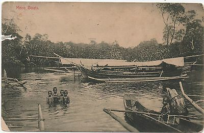 MORO BOATS - PHILIPPINES? postally used 1925 - Damage where stamp removed -