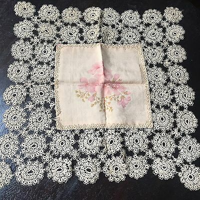 Antique Silk Doily French Tatted Lace Floral Handkerchief Pink Ecru Trim Edge