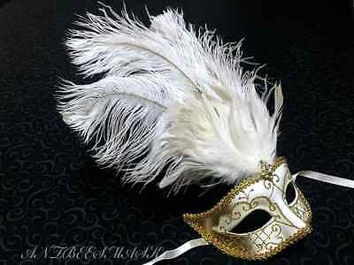 Venetian Women Gold Ivory Masquerade Costume Porm Wedding Party Feather Mask