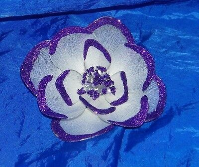 Vintage LUCIE SABLE IMPORTS Purple Glitter Flower Large 19469