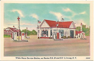 White Horse Service Station in Irving NY Postcard Gas Pumps