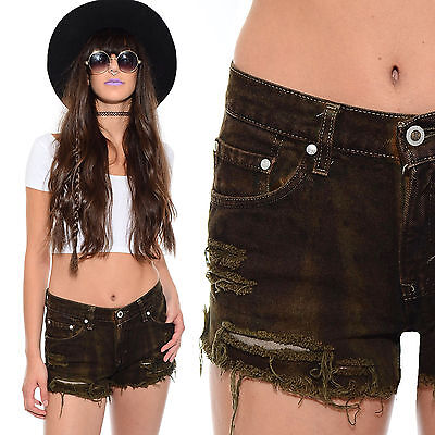 Vintage 90s Dip Dyed DISTRESSED Denim RIPPED Grunge Festival Levis Jean Shorts