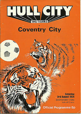 74/75 HULL v COVENTRY CITY @ BOOTHFERRY PARK on AUG 3rd 1974 ~ FRIENDLY