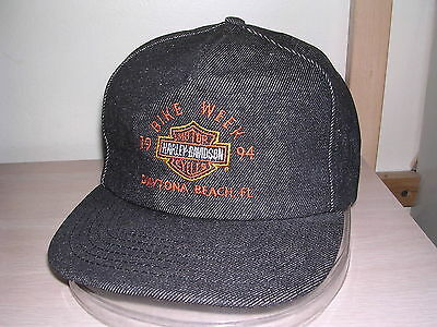 Harley-Davidson Bike Week'94 Baseball Hat-3D Snapback/dayton Beach, Fl/denim/new