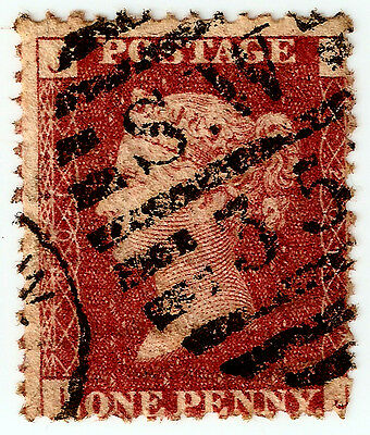 1d PENNY RED Stamp SG43 GB QUEEN VICTORIA Plate 201 IJ LONDON SW35 CANCEL