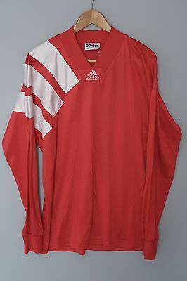 vintage ADIDAS EQUIPMENT 90'S FOOTBALL SHIRT TRIKOT RED WHITE SIZE LARGE