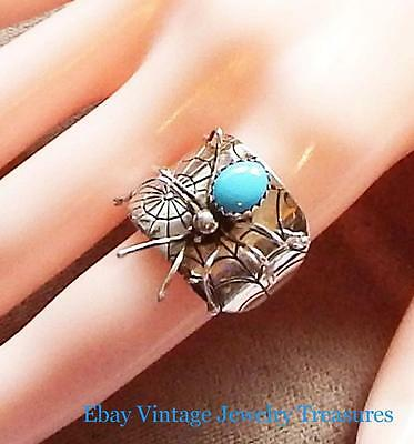 Vintage Sterling Silver Turquoise Spider Ring Size 10 UNIQUE!