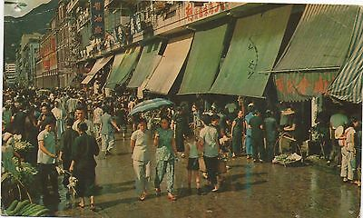 THE MARKET PLACE IN CANAL ROAD WANCHAI HONG KONG - postally used 1961 air mail