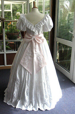 Vintage Wedding Dress White 12 - 14 Sequin Stage Costume Ball Gown Prom Evening