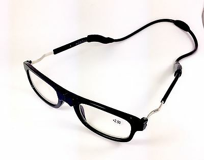 Black High Quality Loopies Magnetic Reading Glasses Black Unisex Case & Cloth