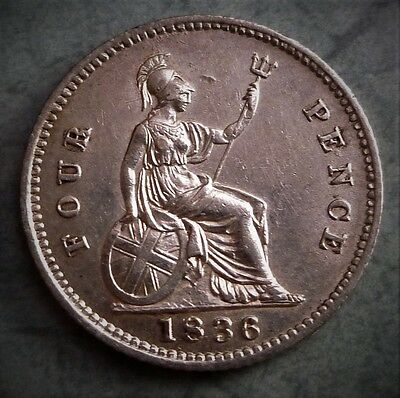 1836 William Iiii, Fourpence, Excellent High Detailed Coin,