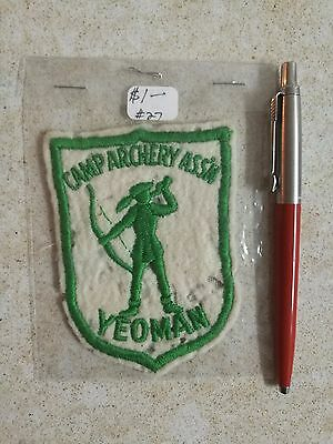 VINTAGE Yeoman Camp Archery ASSN Association Embroidered Patch