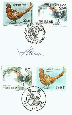 Slania Engraved Rare Birds Joint Issue China-Sweden Fd Folder Signed