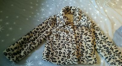 Girls Beautiful Next Leopard Print Fur Coat Aged 11-12 years