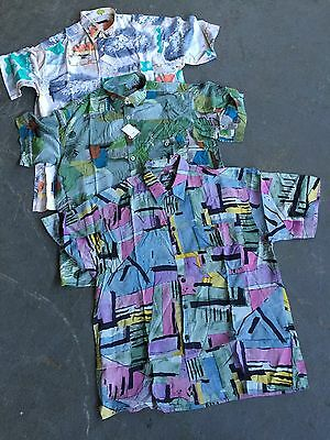 VINTAGE wholesale Crazy 80's patterned Fresh prince Shirts short sleeve x 50