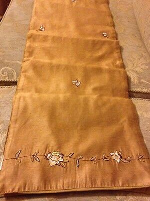 Table Runner, Gold With Embroidered Floral Pattern Vgc Great For Christmas ��