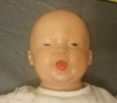 Vintage doll rubber head arms legs baby scary face cloth body toy bald painted