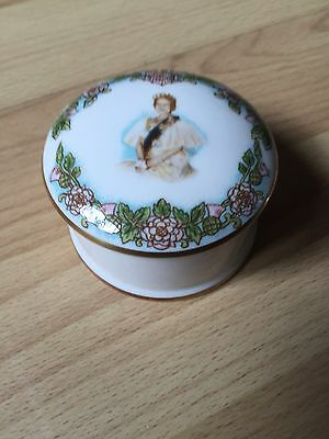 Caverswall China Trinket Box - Queen Mother 1980 - Boxed