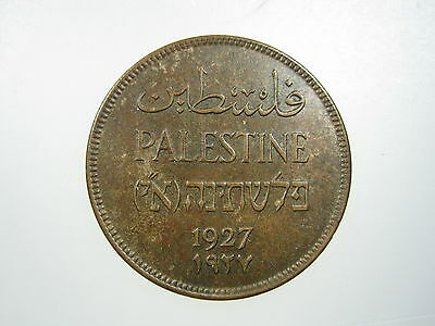 Palestine 2 Mils 1927 Sharp Early Date #o Israel British Protectorate Money Coin