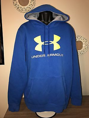 Men's Under Armour Blue & Yellow Loose Long Sleeve Hoodie Size Large