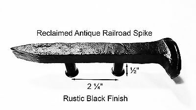 "2-1/4"" Right Black Railroad Spike Dresser Drawer Cabinet Handle Antique Vintage"