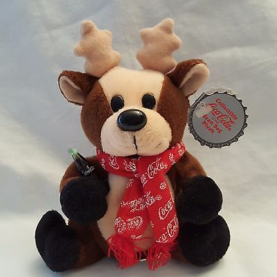 Coca Cola Reindeer Plush Dressed In Snowflake Scarf 1998 Holiday Collectible