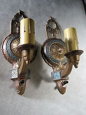 Sconces Antique Cast Metal 1920`s Pair (2) Fully Restored Look & Work Great
