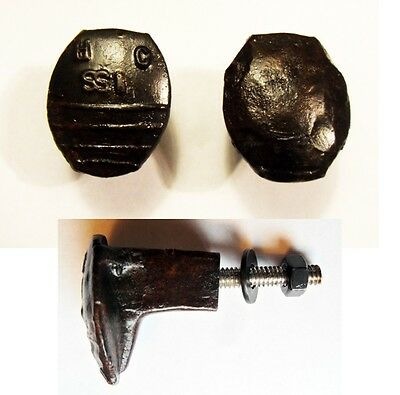 2 Railroad Spike Knobs Door Pulls Cupboard Dresser Drawer Antique Vintage Rustic