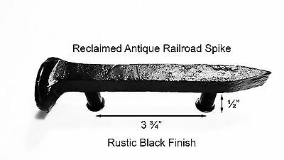 "3-3/4"" Left Black Railroad Spike Door Handle Pull Gate Antique Vintage"