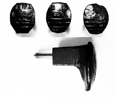 3 Black Easy Screw Railroad Spike Knobs Door Pulls Cupboard Antique Vintage Old