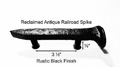 "3-1/2"" Right Black Railroad Spike Dresser Drawer Cabinet Handle Antique Vintage"