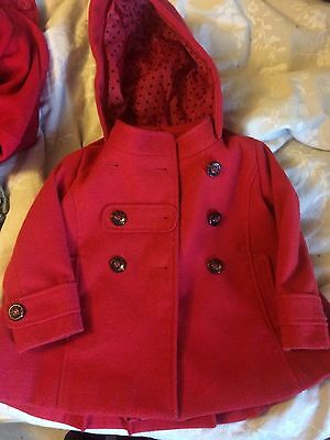Next Girls Red Military Style Peacoat Jacket - Aged 2-3 Years