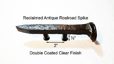 "2"" Right Sealed Railroad Spike Dresser Drawer Cabinet Handle Antique Vintage"