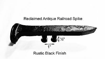 "1"" Left Black Railroad Spike Dresser Drawer Cabinet Handle Antique Vintage"