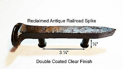 "3-1/4"" Left Sealed Railroad Spike Dresser Drawer Cabinet Handle Antique Vintage"
