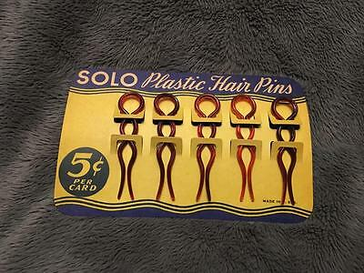 Vintage Solo Plastic Hair Pins Clips on Original Card