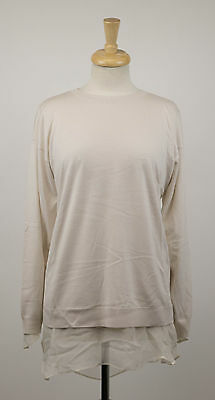 Nwt Brunello Cucinelli Gray Cashmere Blend Crewneck Sweater Blouse